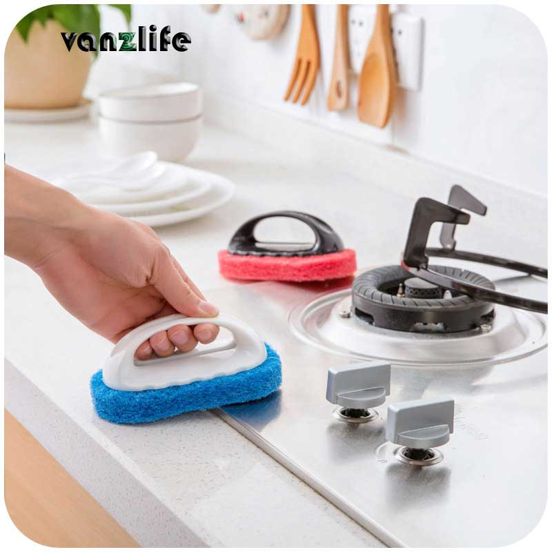 vanzlife strong decontamination cleaning wipe magic sponge brush washing kitchen pot brush wipe bath sponge brush