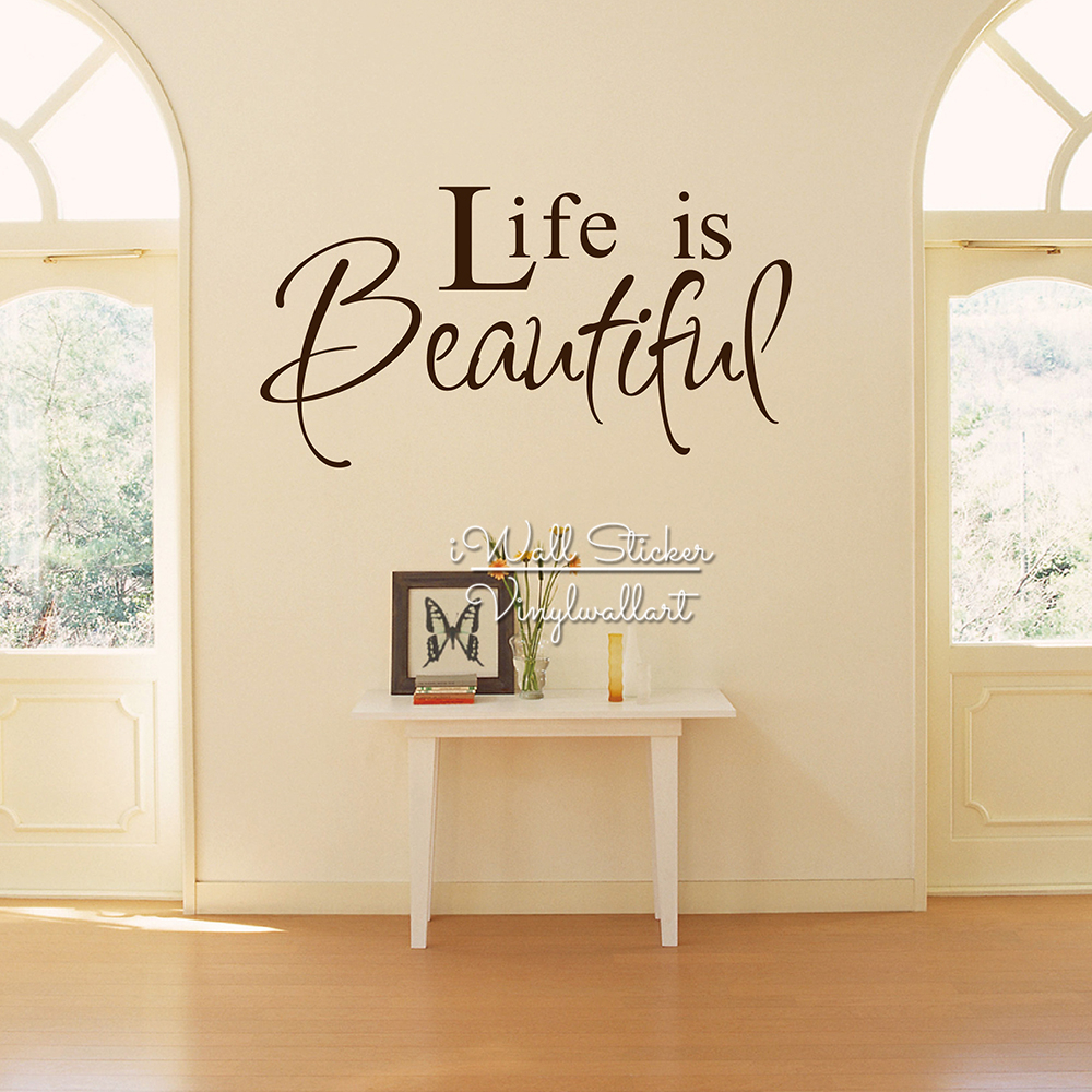 Wall Art Decals For Living Room: Life Is Beautiful Quote Wall Sticker Life Wall Quotes Home