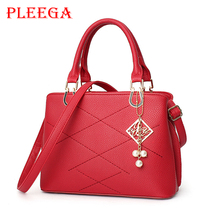 PLEEGA New 2017 Women Fashion Shoulder Bag Female Red Leather HandBags Designer Brand Sequined Pendants PU Stripe Crossbody Bags