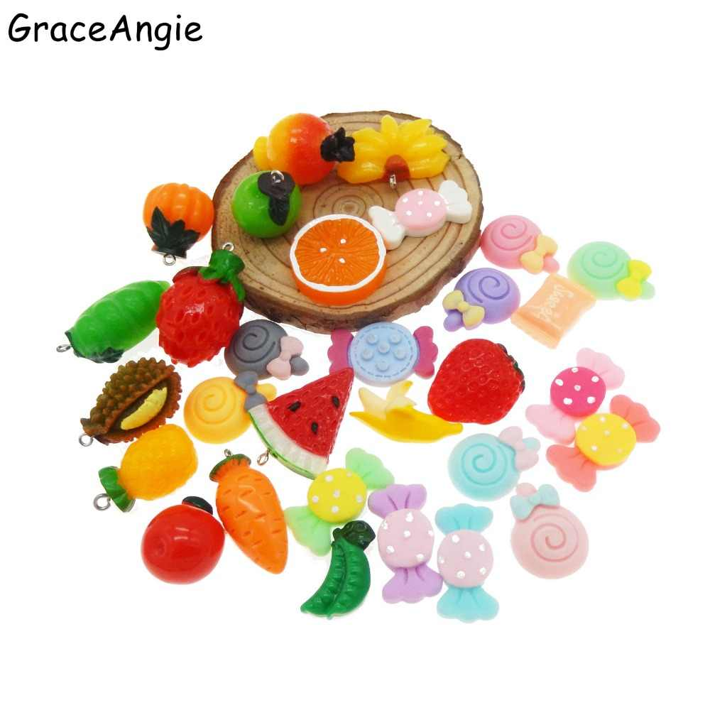 40Pcs Wholesale Slime Charms Mixed Candy Sweets Resin Flatback Fruit Slime Beads for Homemade Slime Supplies Earrings DIY Gifts