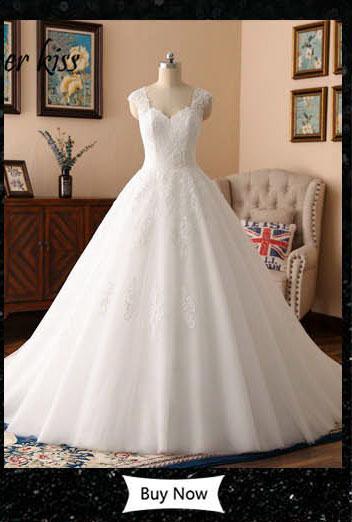 b1a05d839 Amante beso Vestidos de novia vestido de encaje vestido de boda largo mangas  hombro tul hinchada novia Casamento MariageUSD 107.30 piece ...
