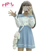 2019 Japanese Fashion Cute Princess Lolita Dress Women Soft Sister Sailor Collar Stitching Color Kawaii Halloween Mini Dresses