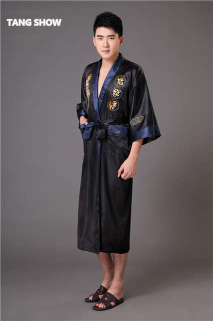 399adac1b6 placeholder Black Navy Blue Reversible Men s Kimono Gown Chinese Male Two  Side Satin Robe Embroidery Dragon Sleepwear