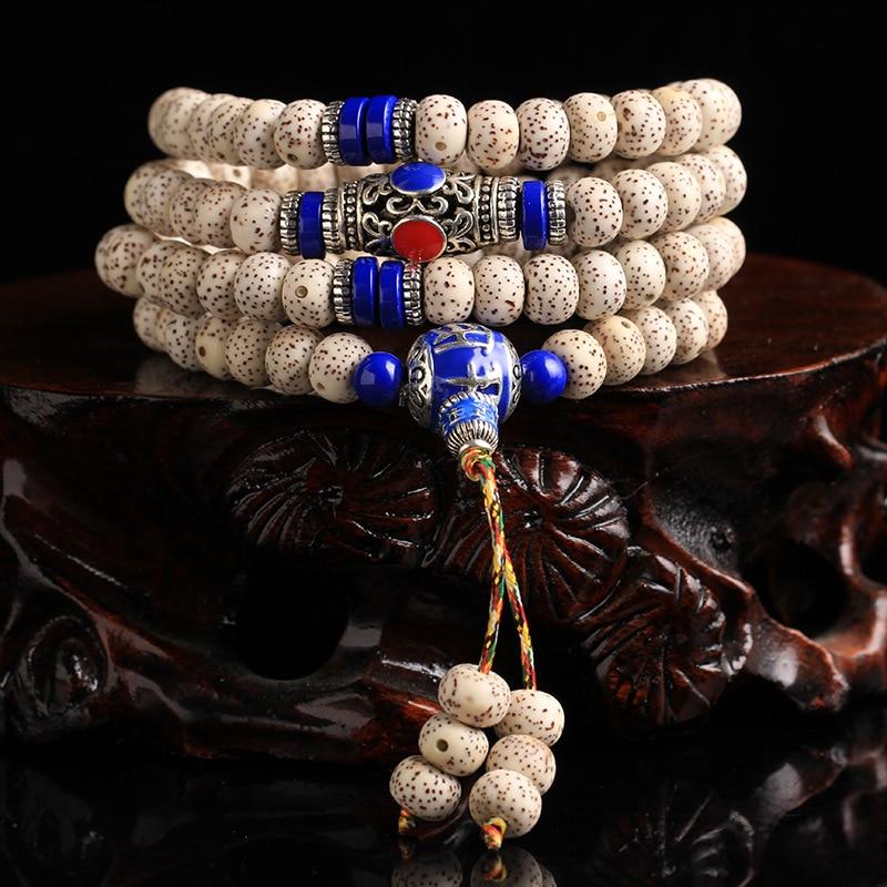 Perles de Hainan Bodhi authentiques 108 densité de bois naturel le long de la graine d'or Bodhi blanc