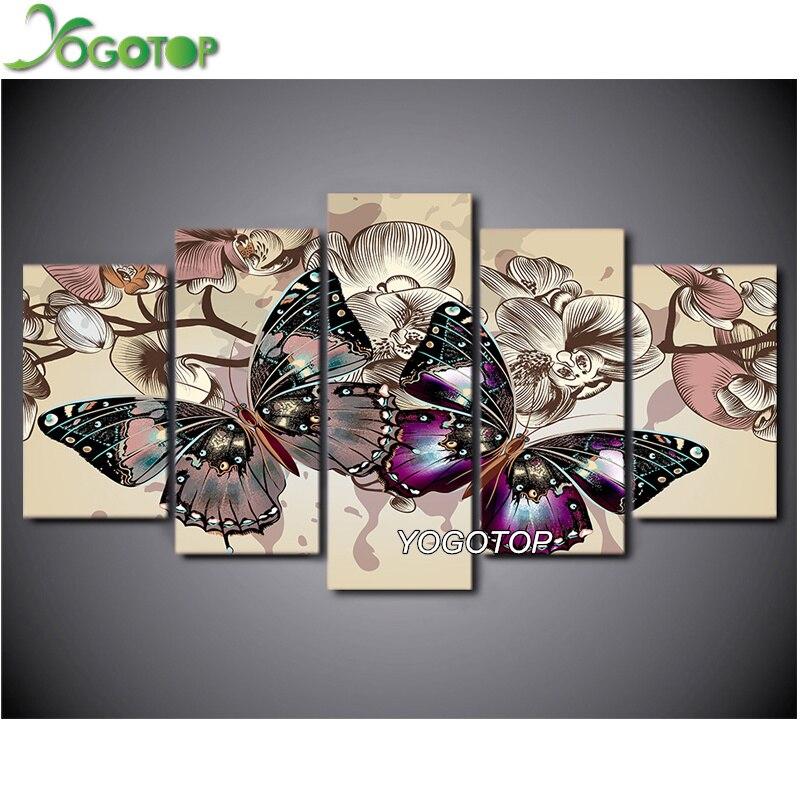 YOGOTOP bricolage diamant peinture point de croix Kits complet diamant broderie papillon 5D diamant mosaïque couture 5 pièces ML117
