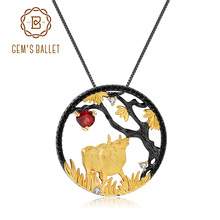 GEMS BALLET Natural Red Garnet Handmade Creative Pendant Necklace 925 Sterling Silver Ox Patient Zodiac Jewelry For Women