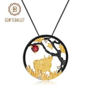 Image 1 - GEMS BALLET Natural granate rojo hecho a mano creativo colgante collar 925 plata esterlina buey paciente Zodiaco joyería para las mujeres