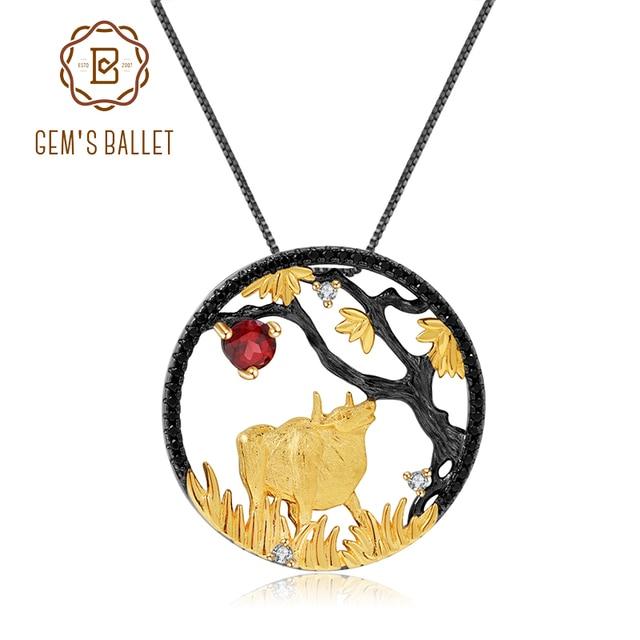 GEMS BALLET Natural granate rojo hecho a mano creativo colgante collar 925 plata esterlina buey paciente Zodiaco joyería para las mujeres