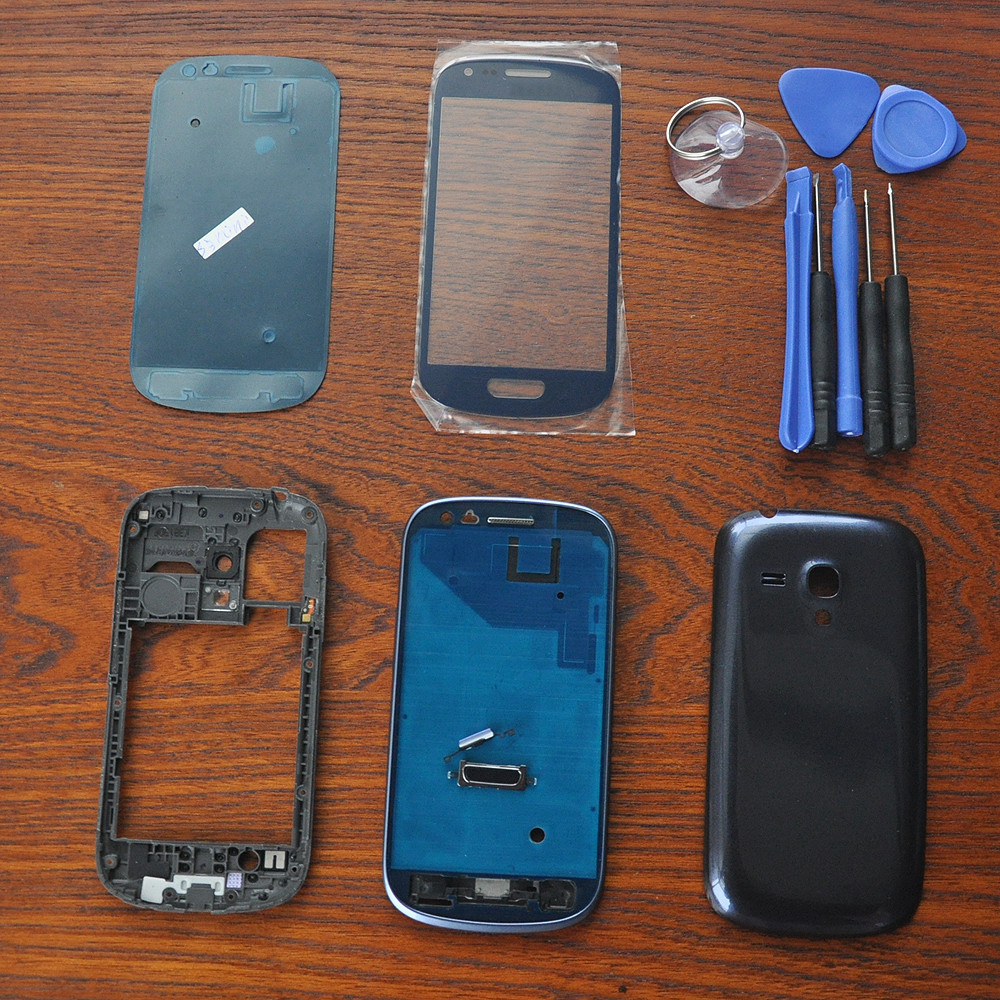 Free shipping !! Original OEM For Samsung S3 SIII mini GT-i8190 Blue Full Housing Case Cover Replacement front glass ,With Black image