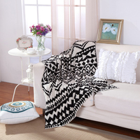 Knitting Blanket Jacquard Soft Sofa Cover Baby Receiving Blanket Warm 90x110cm Black& White Pattern US Style Air Conditioning