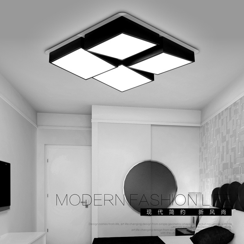 modern LED ceiling lights black living room lighting fixture bedroom lamp luces del techo moderne luminaire acrylic kitchen lamp noosion modern led ceiling lamp for bedroom room black and white color with crystal plafon techo iluminacion lustre de plafond
