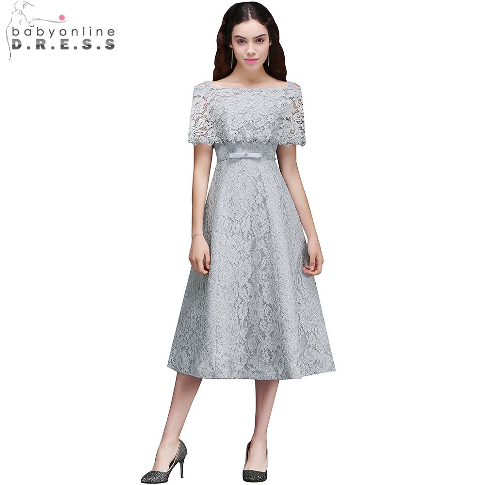 Babyonline 2019 Pretty Silver A-line Lace   Cocktail     Dresses   Off Shoulder Beaded Party Gowns Lace Up Back Tea Length