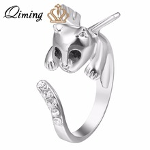 QIMING 3D Wing Kitty Cat Rings Anel Retial Unique Cats Angel Kitty Wing Ring For Best Friend Crystal Ring Wedding Rings Bague