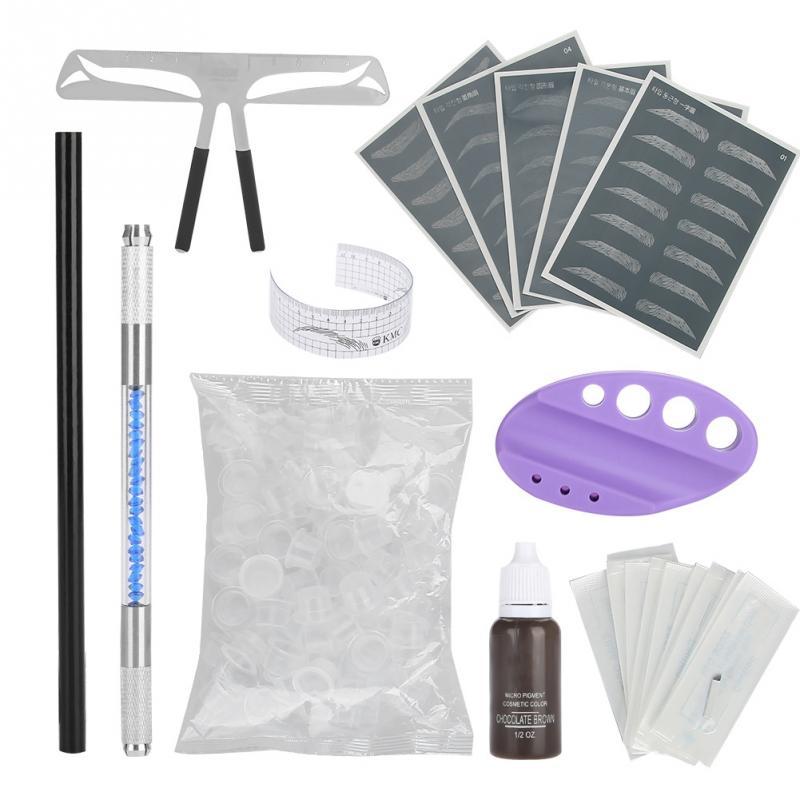 Tätowier-sets Nett Microblading Stift Semi-augenbrauen Permanent Make-up Tattoo Stift Pigment Klinge Kit Praxis Werkzeuge Tttoo Haut Herrscher Schönheit Make-up Tropf-Trocken