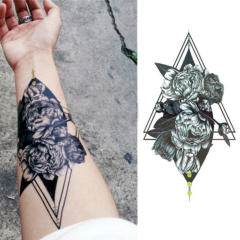Geometric Rose Tattoo Sketch Flower Triangle Tattoo Sticker Peony Tatoo Temporary Stickers Sleeve Arm Tattoo Black Men Women