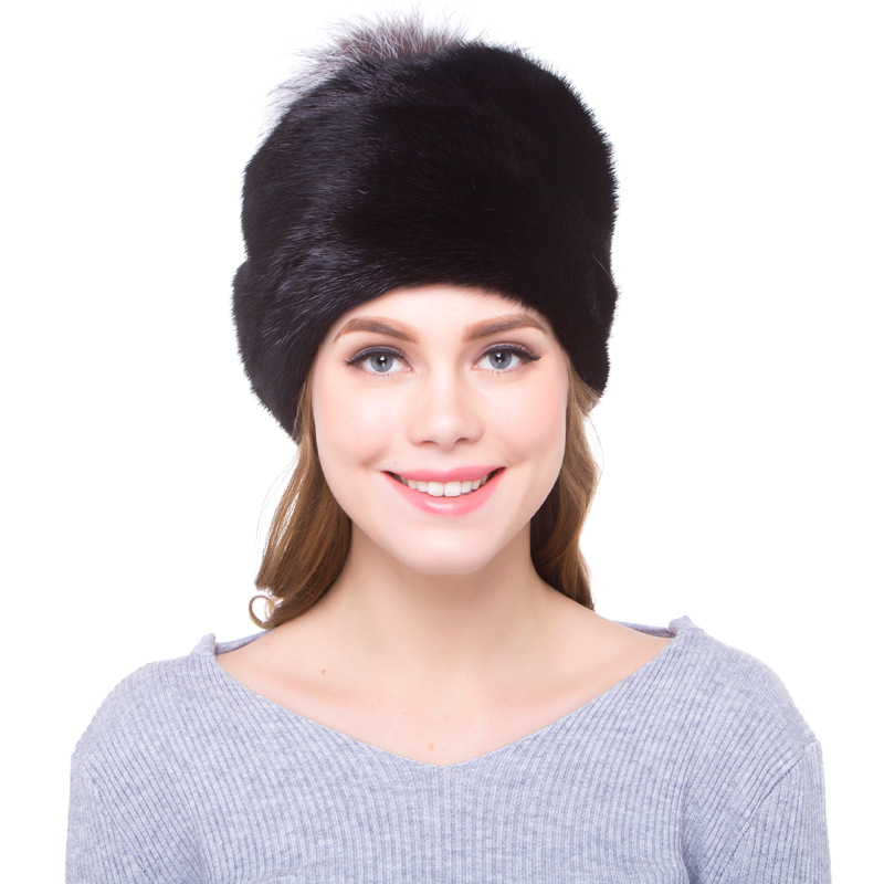 Luxury Russian Women Wholeskin Mink Fur Skullies Beanies Hats Fox Fur Pom Winter Lady Caps Fashion Headgear LF5098