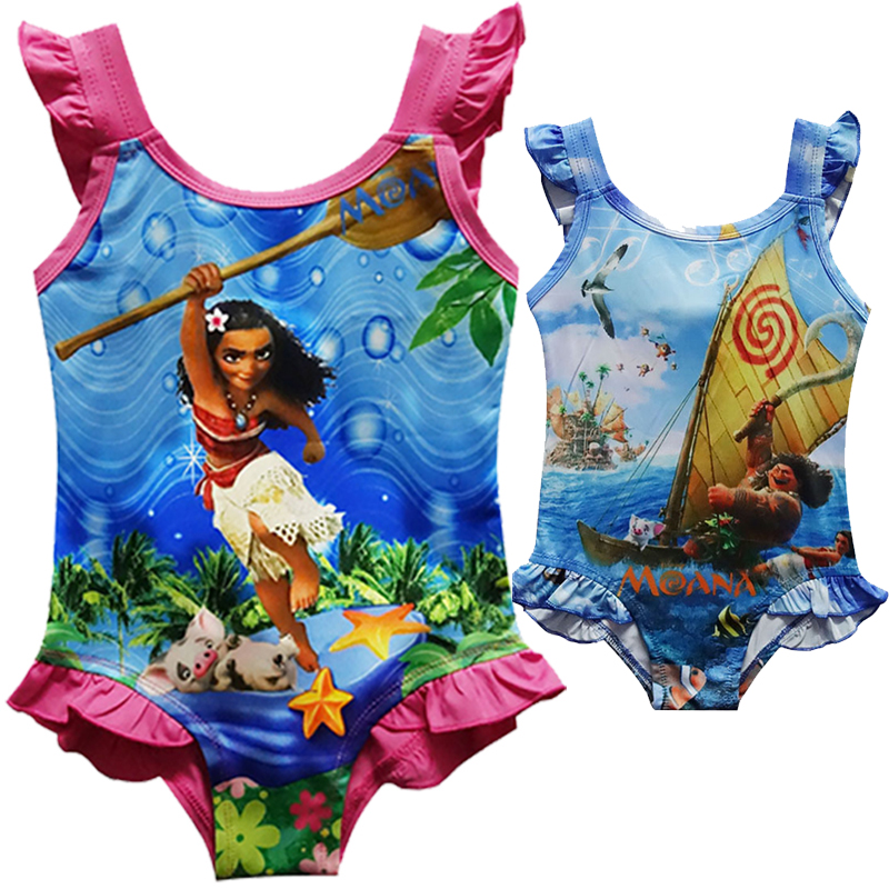 Amuybeen New 2017 Summer Dress Child Swimsuit Cartoon Moana Cosplay Girls Swimming Jumpsuits Party Fashion Moana Costume Dress видеокарта powercolor 4096mb rx 570 red dragon axrx 570 4gbd5 3dhd oc 3xdp hdmi dvi ret