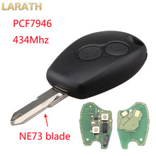LARATH Remote Key 434MHz PCF7946 2 Buttons Keyless Entry Fob for Renault Megane Modus Clio Kangoo Logan Sandero Duster Car Alarm(China)