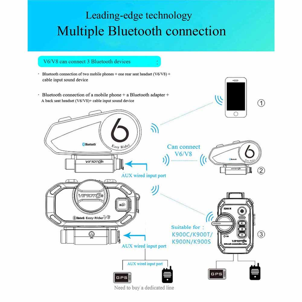 Version anglaise 2 pcs/lot casque moto Vimoto V6 casque Bluetooth stéréo casque Multipoint connexion BT Interphone - 2