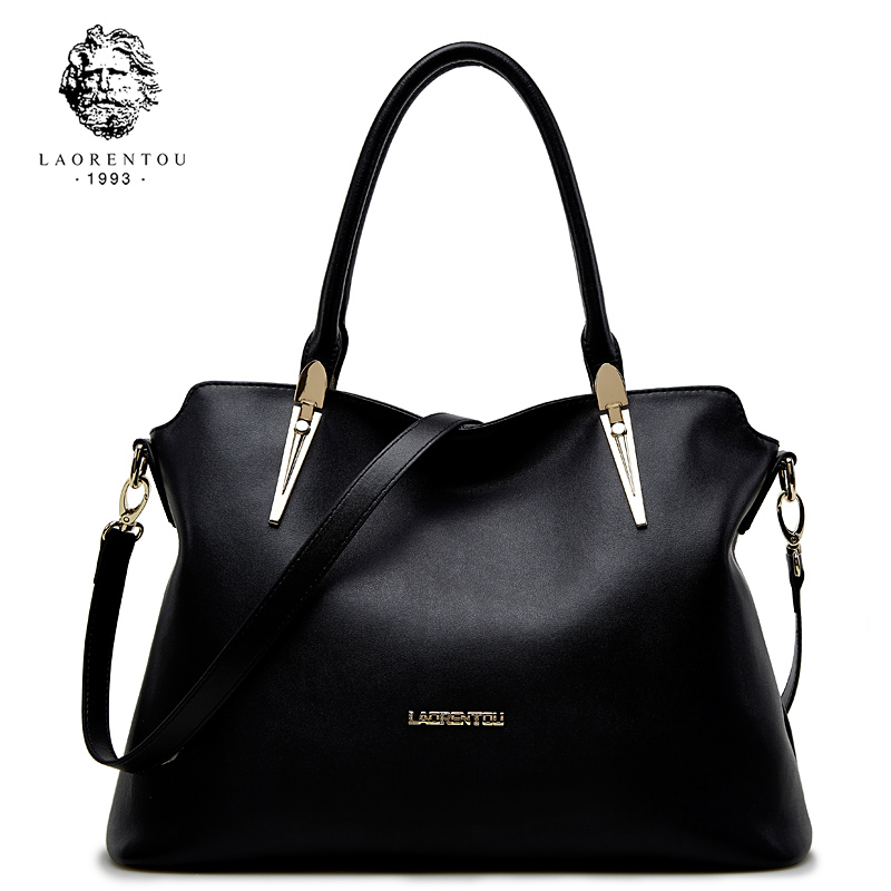 цены LAORENTOU Cowhide Leather Shoulder Bag Ladies Leather Luxury Handbags Women Bags Designer Ladies Shoulder Bag Casual Tote
