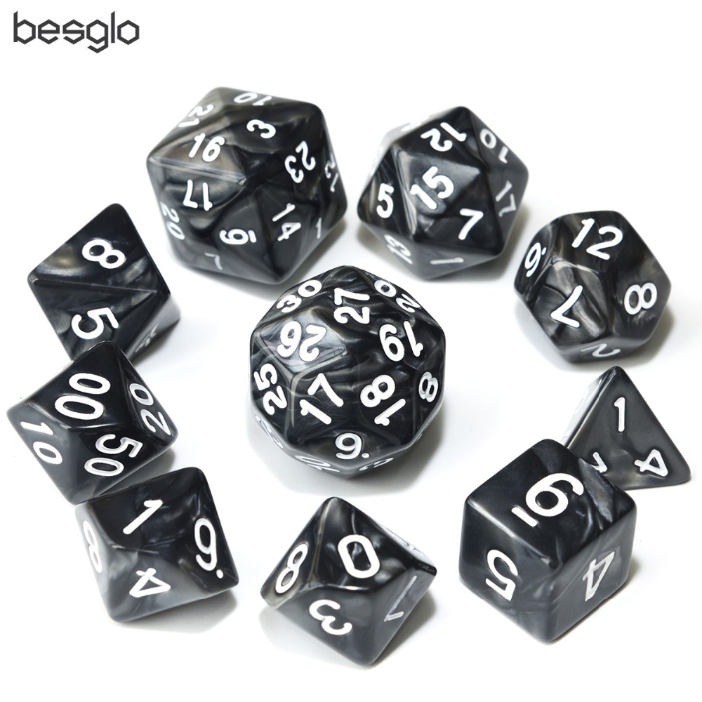 10pcs Black Dice Set D4 D6 D8 D10(0-9 1-10 00-90) D12 D20 D24 D30 With Drawstring Pouch For RPG Games
