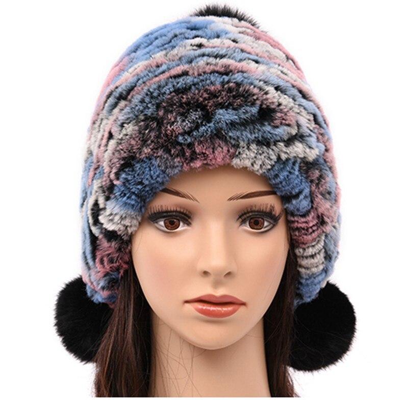 (TopFurMall) Multi Color Genuine Knitted Rabbit Fur Bomber Hats Pom Poms Winter Warm Caps Fashion Ear Protector Headgear LF6000