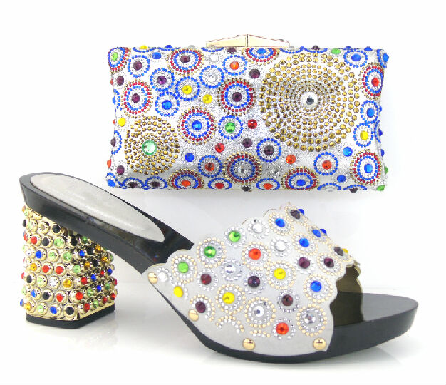 ФОТО New Fashion African Shoe And Bag Set For Party Summer Style High Heels Shoe With Matching Bag Set For Wedding Silver