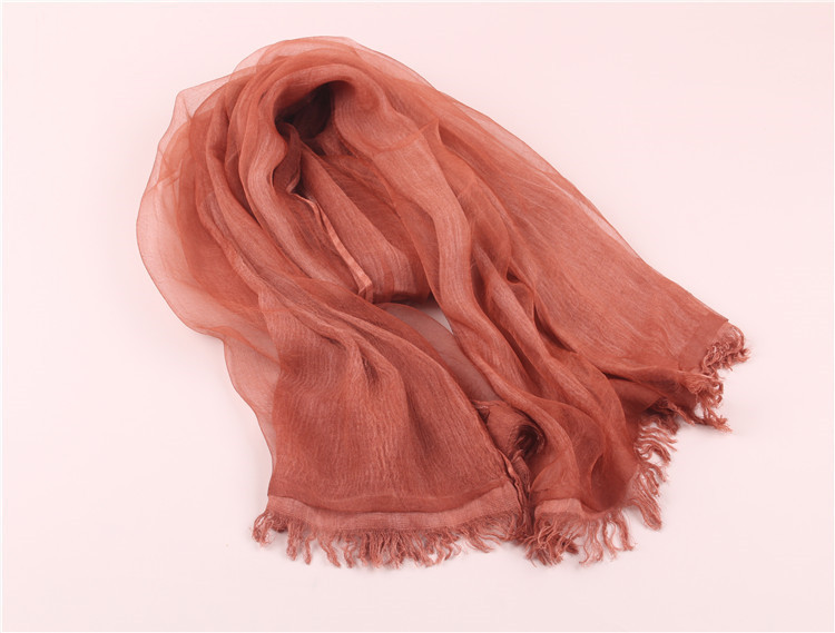 2018 New vintage women cotton+organza silk long scarf