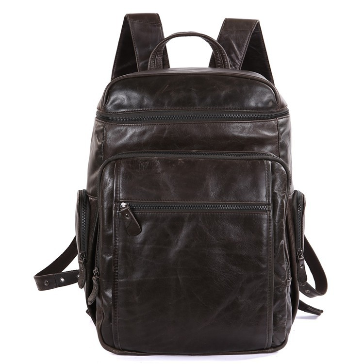 100% Genuine Cowhide Leather Fashion Lptop Backpacks Travelling Bags 7202J