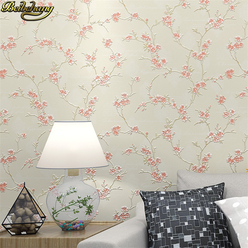 beibehang Romantic pastoral plum Bedroom wallpapers for living room Home Decor Beige Pink blue Flower Wall paper roll decoration pink butterfly flower tree wall sticker for home room decoration waterproof removable decals