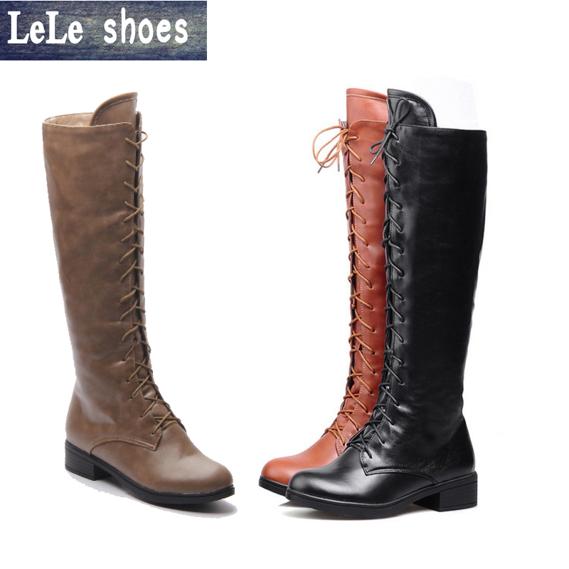 2016 New Brand Women Winter Knee High Boots Big Size High Quality Leather Plush Fur Warm