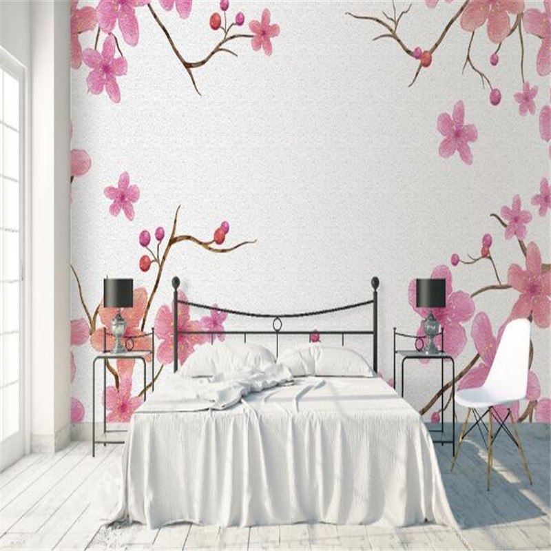3D Flowers Wallpaper Murals Hand Painting Pink Florals Wall Papers Home Decor Living Room Bedroom Large Murals Nature Wallpapers shinehome sunflower bloom retro wallpaper for 3d rooms walls wallpapers for 3 d living room home wall paper murals mural roll