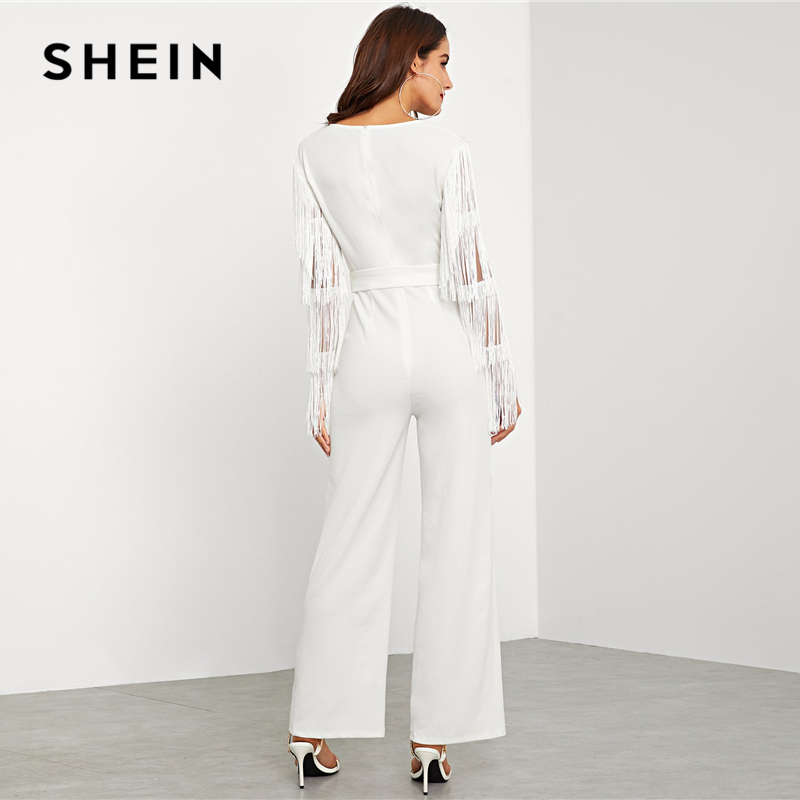 4baf1c70c4 SHEIN White Highstreet Belted Layered Tassel Mesh Sleeve Surplice Wrap  Solid Jumpsuit 2018 Autumn Workwear Women Jumpsuits-in Jumpsuits from  Women's ...