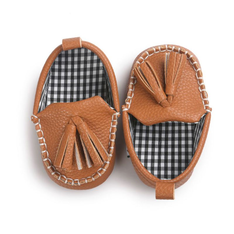 For Baby Boy Girl Pu Tassel Pendant Leather Baby Moccasins Shoes Newborn Printing Princess Baby Non-slip Learning Shoes