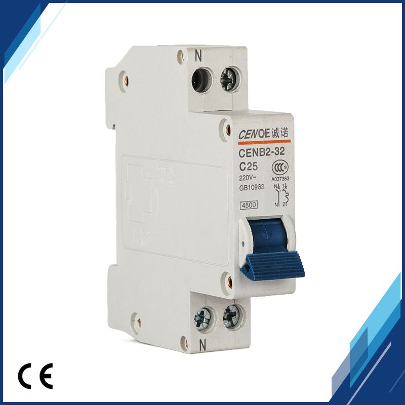 12 pcs free shipping price lowly the most ideal residential distribution small circuit breaker DPN 1P+N25A 230V~ 50HZ/60HZ