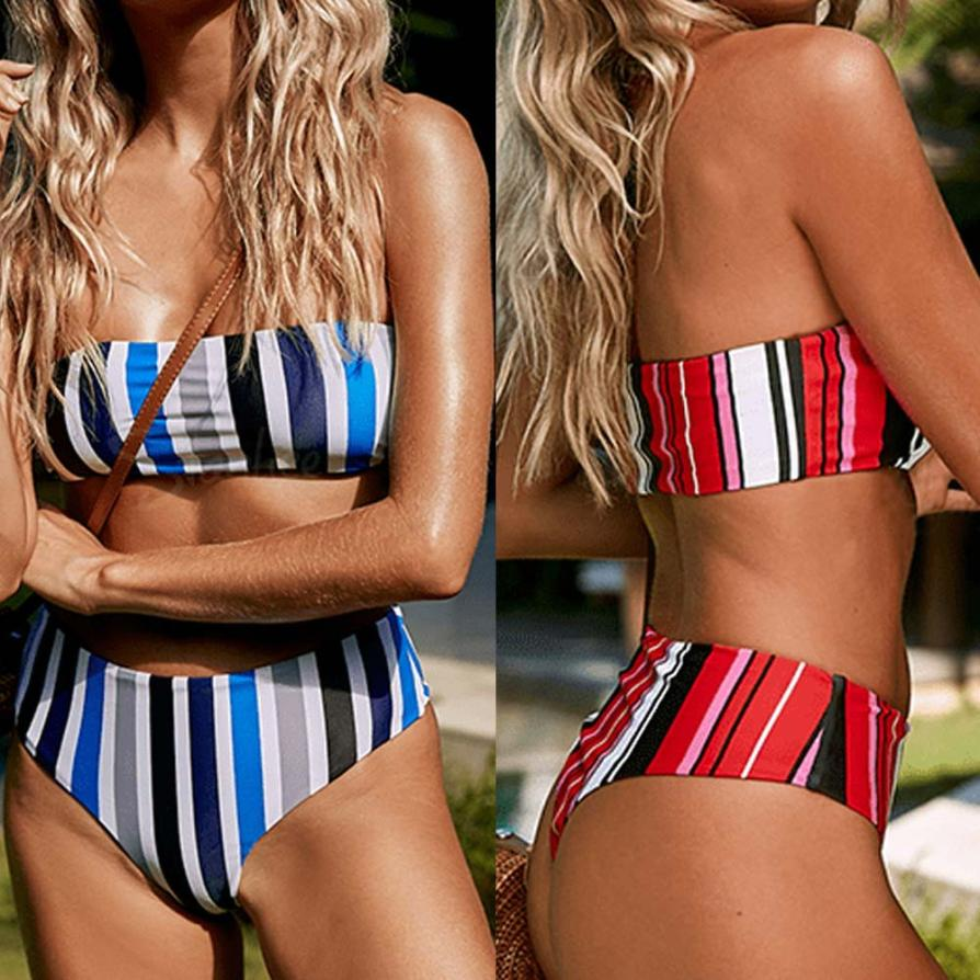 Women Sexy Stripe High Waisted Bikini Set Ladies Bandeau Bikini Swimsuit Female push up padded Swiming suit Women Zaful Swimwear