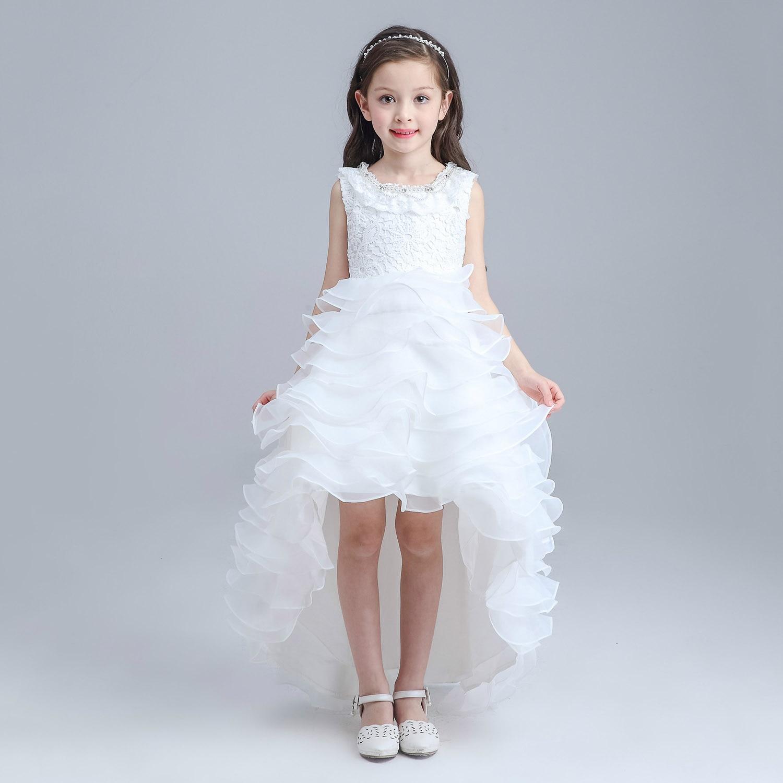 ABWE Best Sale Princess Flower Girls Dresses New Summer Tutu Wedding Long Formal Irregular Girl Dress Kids Birthday Party New