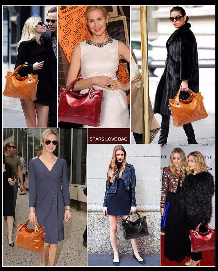 Women Oil Wax Leather Designer Handbags High Quality Shoulder Bags Ladies Handbags Fashion brand PU leather women bags WLHB1398 1