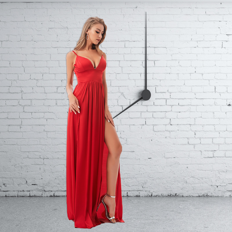<font><b>Sexy</b></font> Backless Split Front Summer Floor Length <font><b>Dress</b></font> Deep V Neck Party <font><b>Dress</b></font> <font><b>Red</b></font> Satin Sleeveless Padded <font><b>Dress</b></font> image