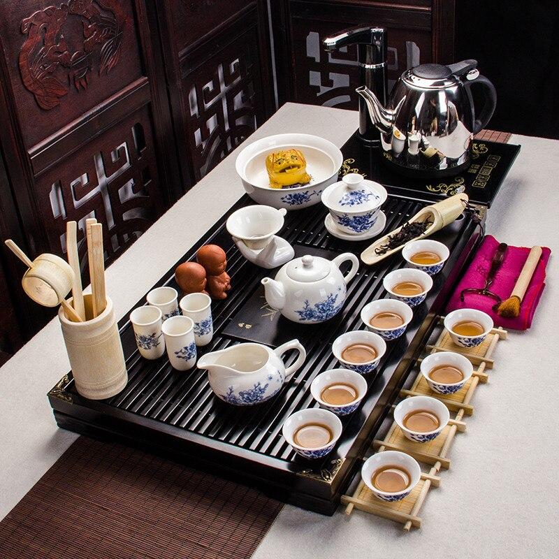Ensemble de thé Kung Fu en céramique bleu et blanc, théière en céramique pour cadeaux d'affaires