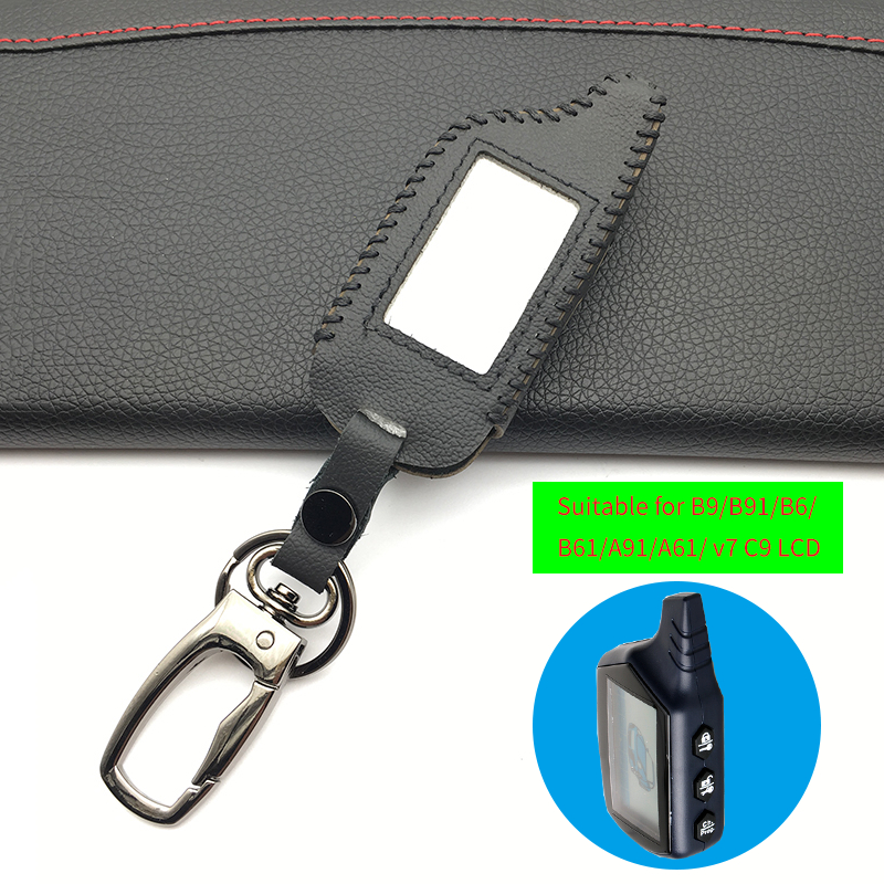 100% Genuine Leather Key Case For Starline B9 B9 / B91 / B6 / B61 / A91 / A61 / V7 C9 LCD Shape Of Hot Sale Remote Car Alarm