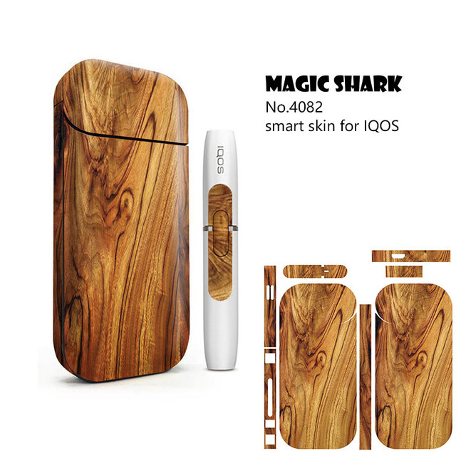 Magic Shark Flower Rose Lady Wood Print Stereo Film Sticker for IQOS 2.4 Plus Cover Case for IQOS 2.4 Plus Vape 3