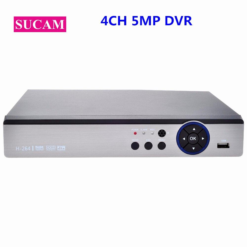 SUCAM 4CH 5 DANS 1 5MP Numérique Vidéo Enregistreur Hybride NVR 5MP AHD DVR Soutien 5MP AHD TVI CVI Analogique IP Support de Caméra 3G Wifi PTZ