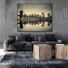 Laeacco Canvas Calligraphy Painting Brooklyn bridge and Manhattan at Dusk New York City Posters Prints Wall Art Living Room