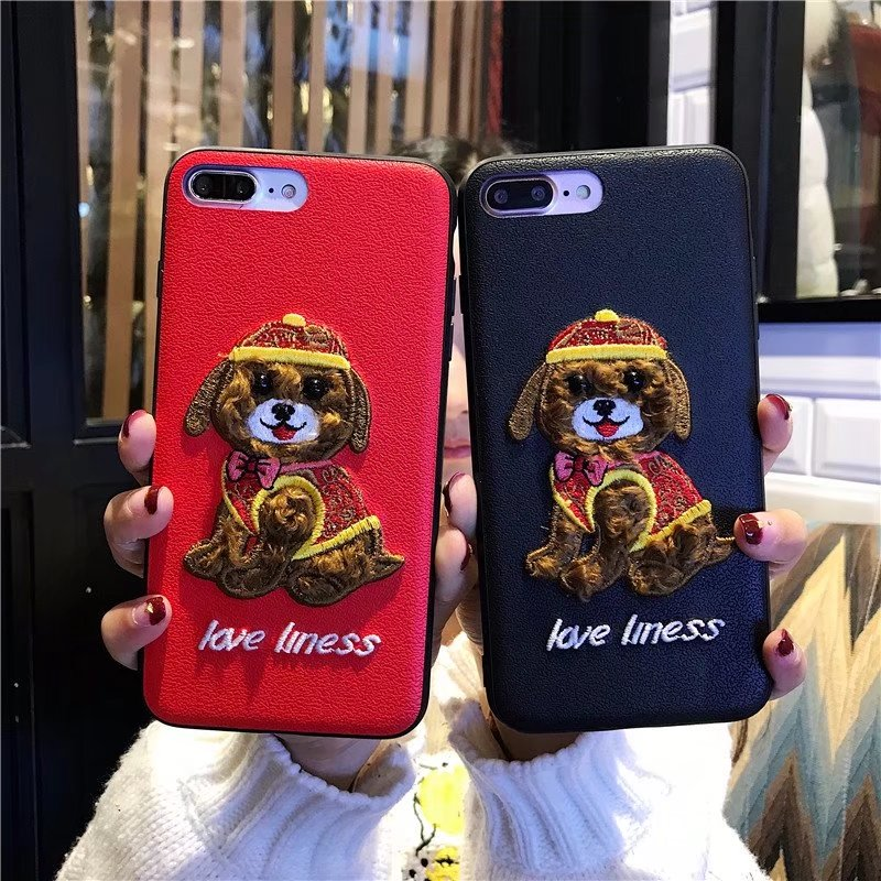 3D Embroidery Leather Teddy Case for OPPO F1S F5 A83 R11 F1 Plus Cute Pet Dog Plush TPU Edge Phone Cover for ViVO V5 X20 Plus