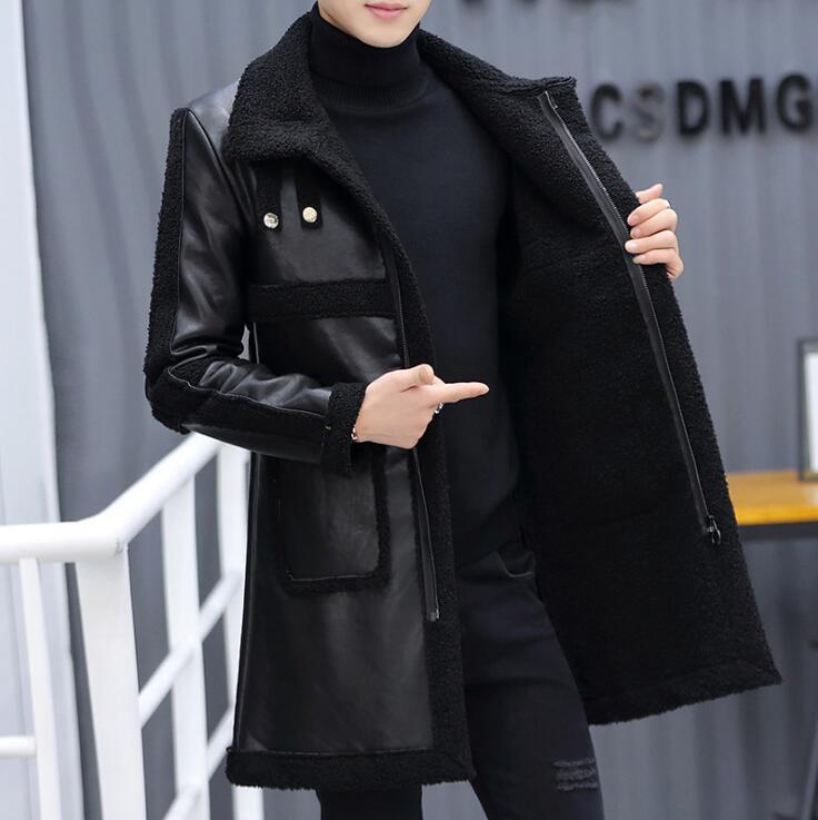 Abrigo de piel de PU hasta la rodilla de invierno para hombre abrigo de piel de cordero grueso abrigo de piel de cuello delgado abrigo de piel de talla grande ropa M-4XLNew Casual
