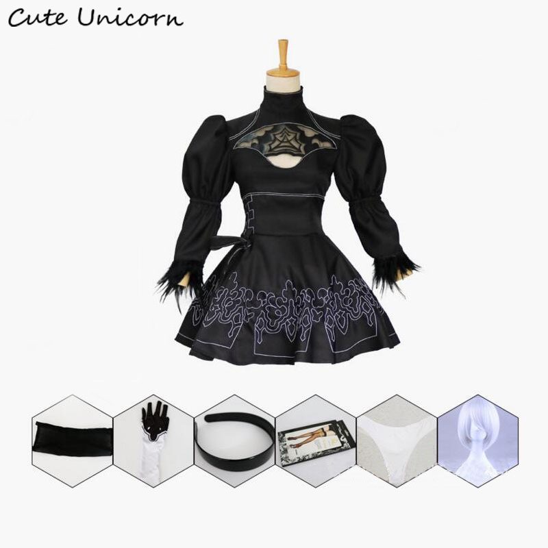 Nier Automates Cosplay Costume Yorha 2B sexy Outfit Jeux Costume Femmes Jeu de Rôle Costumes Filles Halloween Party Fantaisie Robe