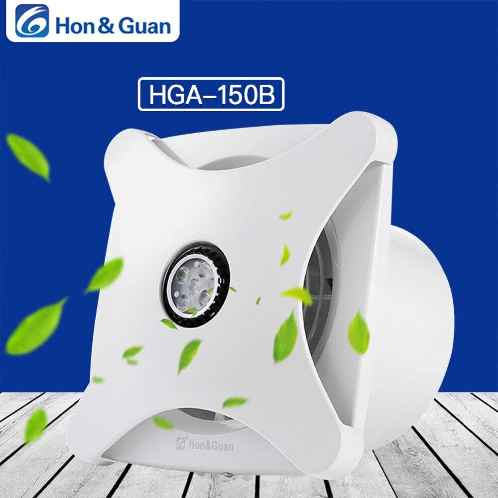 Hon&Guan 6'' Home Ventilation Fan Bathroom Garage Exhaust Fan Ceiling and Wall Mount Fan; Super Silent, Strong Exhaust HGA 150B