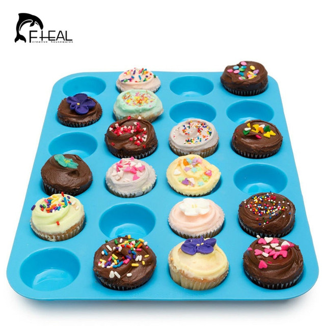 fheal mini muffin petits gâteaux 24 cavité moule en silicone