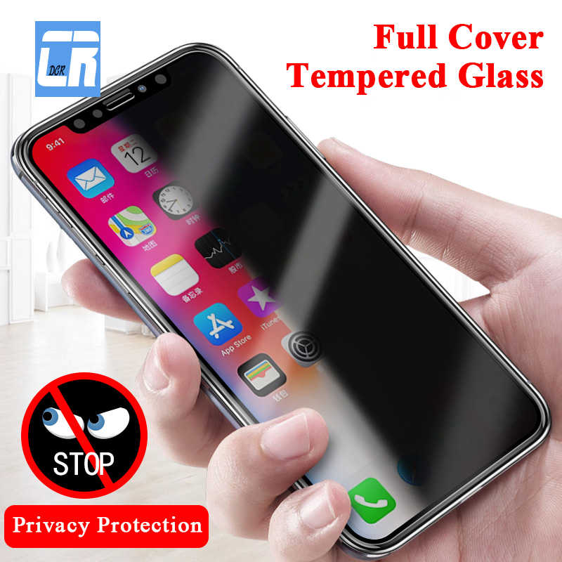 DCR Privacy Protection Full Cover Tempered Glass for iPhone 11 pro X XS max XR7 8 6s Plus Screen Protector For iPhone 8 7 6 Protective Film Case